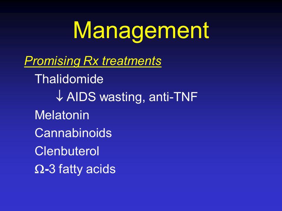 Management Promising Rx treatments Thalidomide AIDS wasting, anti-TNF Melatonin Cannabinoids Clenbuterol -3 fatty acids
