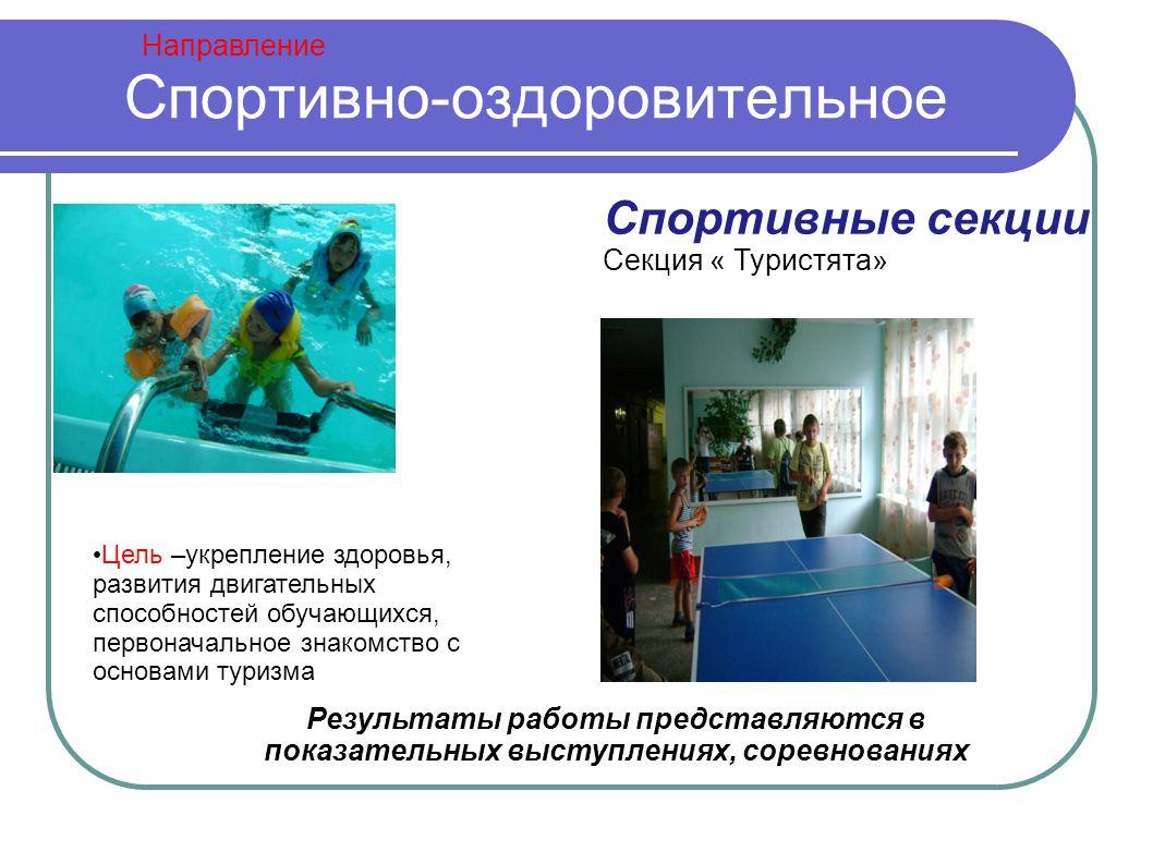 Направление Спортивно-оздоровительное Спортивные секции Секция « Туристята» Результаты работы представляются в показательных выступлениях, соревнованиях Цель –укрепление здоровья, развития двигательных способностей обучающихся, первоначальное знакомство с основами туризма