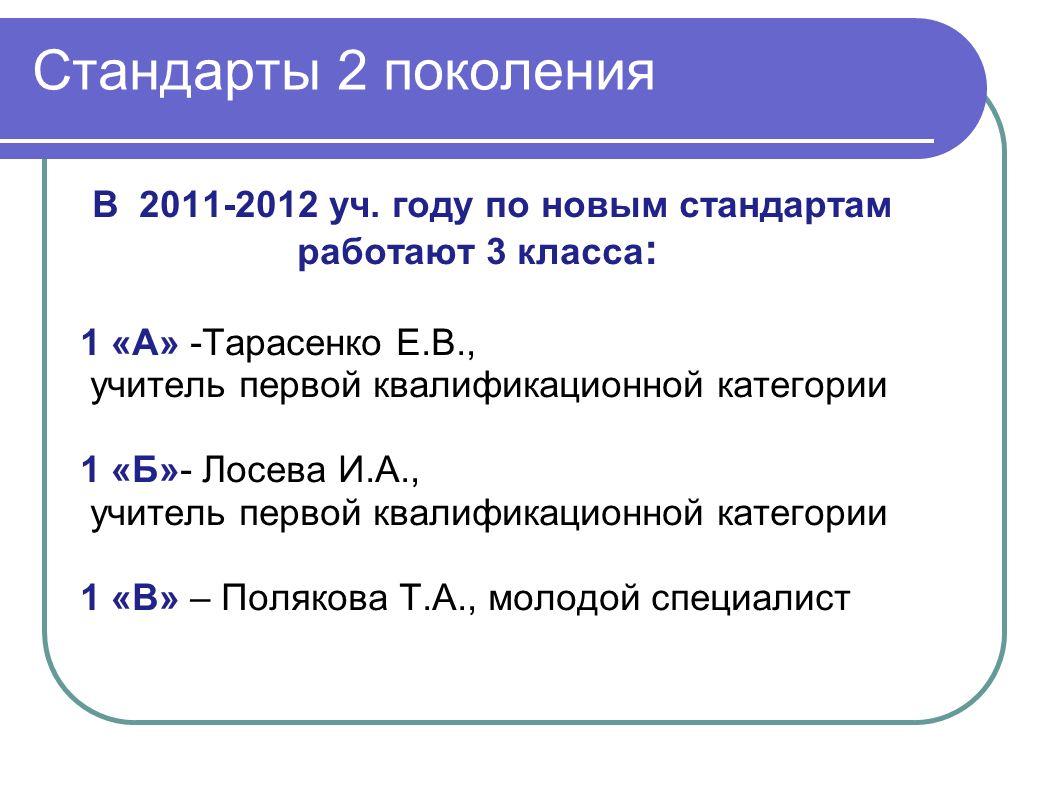Стандарты 2 поколения В 2011-2012 уч.