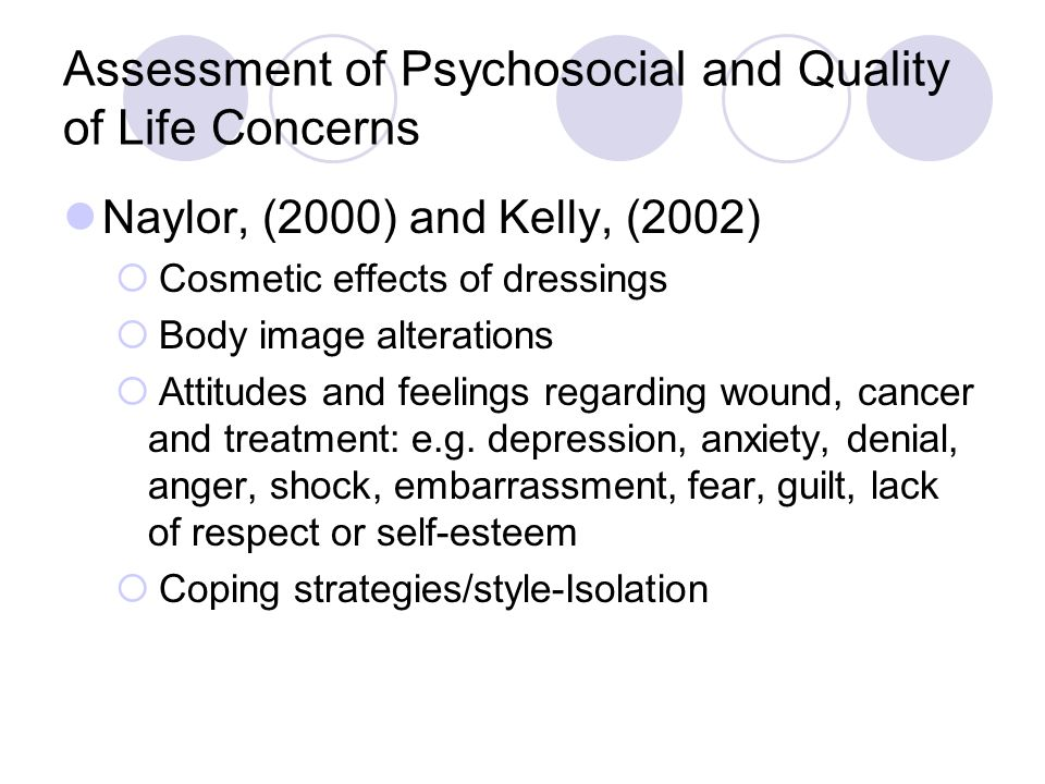 Assessment of Psychosocial and Quality of Life Concerns Naylor, (2000) and Kelly, (2002) Cosmetic effects of dressings Body image alterations Attitude
