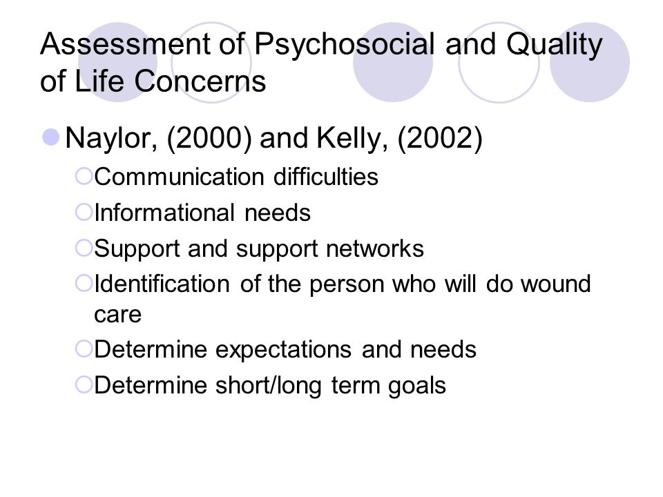 Assessment of Psychosocial and Quality of Life Concerns Naylor, (2000) and Kelly, (2002) Communication difficulties Informational needs Support and su