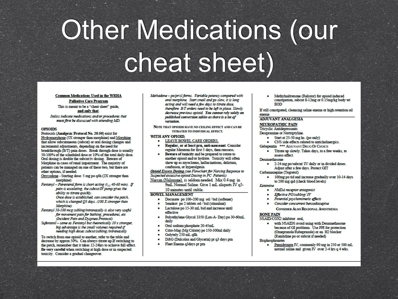 Other Medications (our cheat sheet)