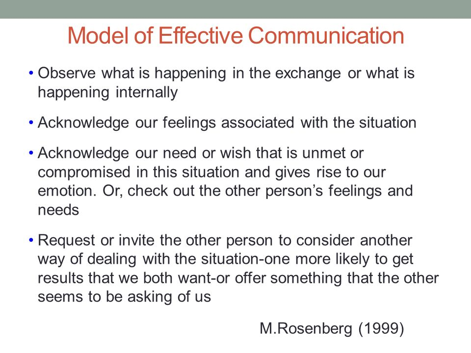 Model of Effective Communication Observe what is happening in the exchange or what is happening internally Acknowledge our feelings associated with th