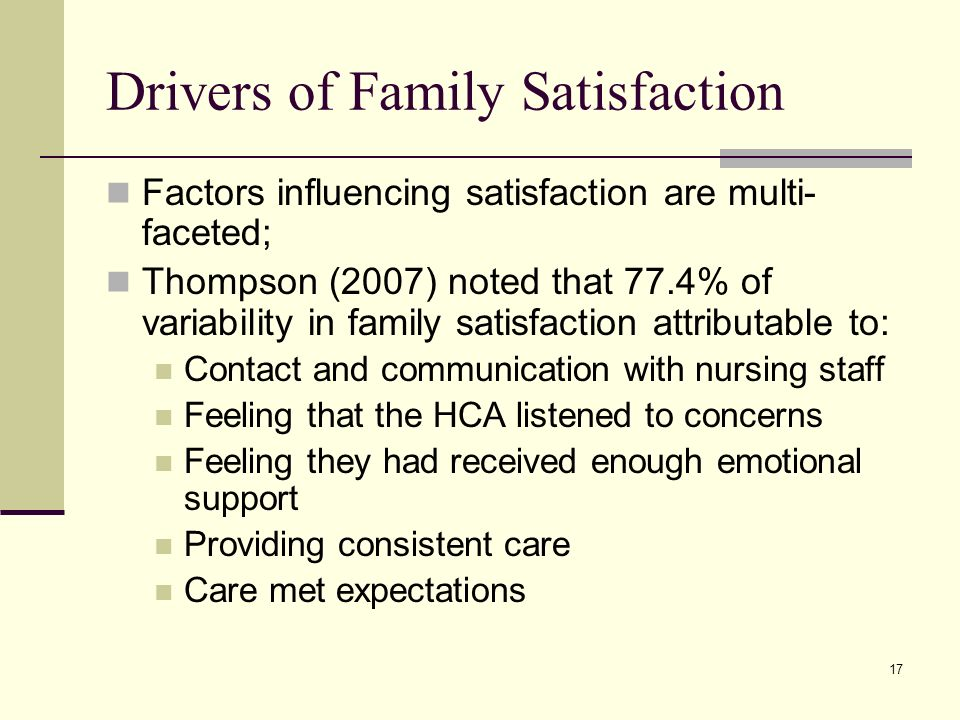 17 Drivers of Family Satisfaction Factors influencing satisfaction are multi- faceted; Thompson (2007) noted that 77.4% of variability in family satisfaction attributable to: Contact and communication with nursing staff Feeling that the HCA listened to concerns Feeling they had received enough emotional support Providing consistent care Care met expectations