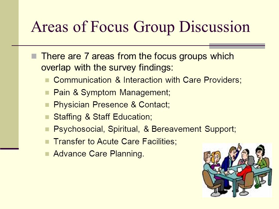20 Areas of Focus Group Discussion There are 7 areas from the focus groups which overlap with the survey findings: Communication & Interaction with Care Providers; Pain & Symptom Management; Physician Presence & Contact; Staffing & Staff Education; Psychosocial, Spiritual, & Bereavement Support; Transfer to Acute Care Facilities; Advance Care Planning.