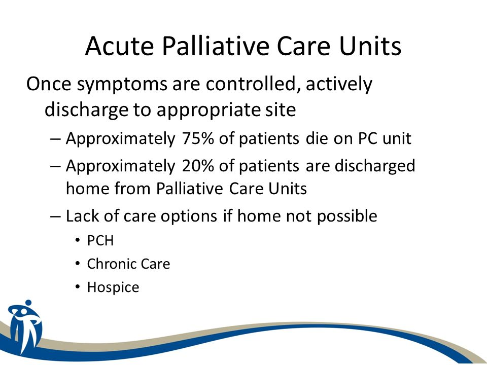 Acute Palliative Care Units Once symptoms are controlled, actively discharge to appropriate site – Approximately 75% of patients die on PC unit – Appr