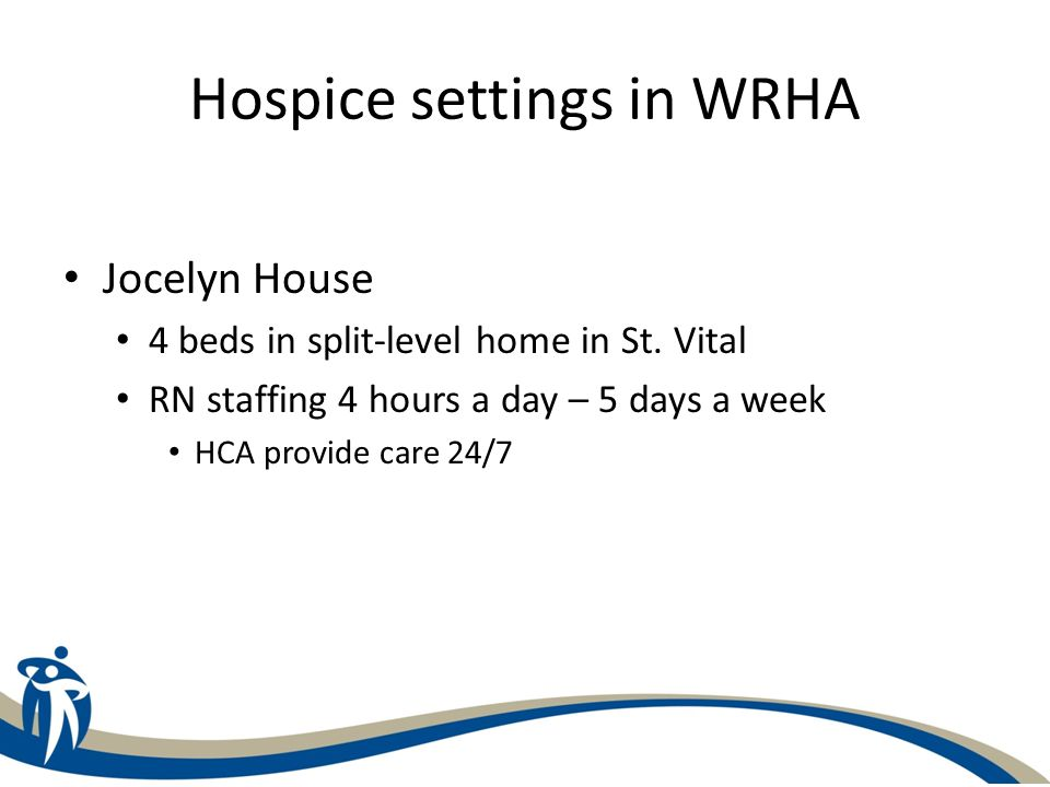 Hospice settings in WRHA Jocelyn House 4 beds in split-level home in St.