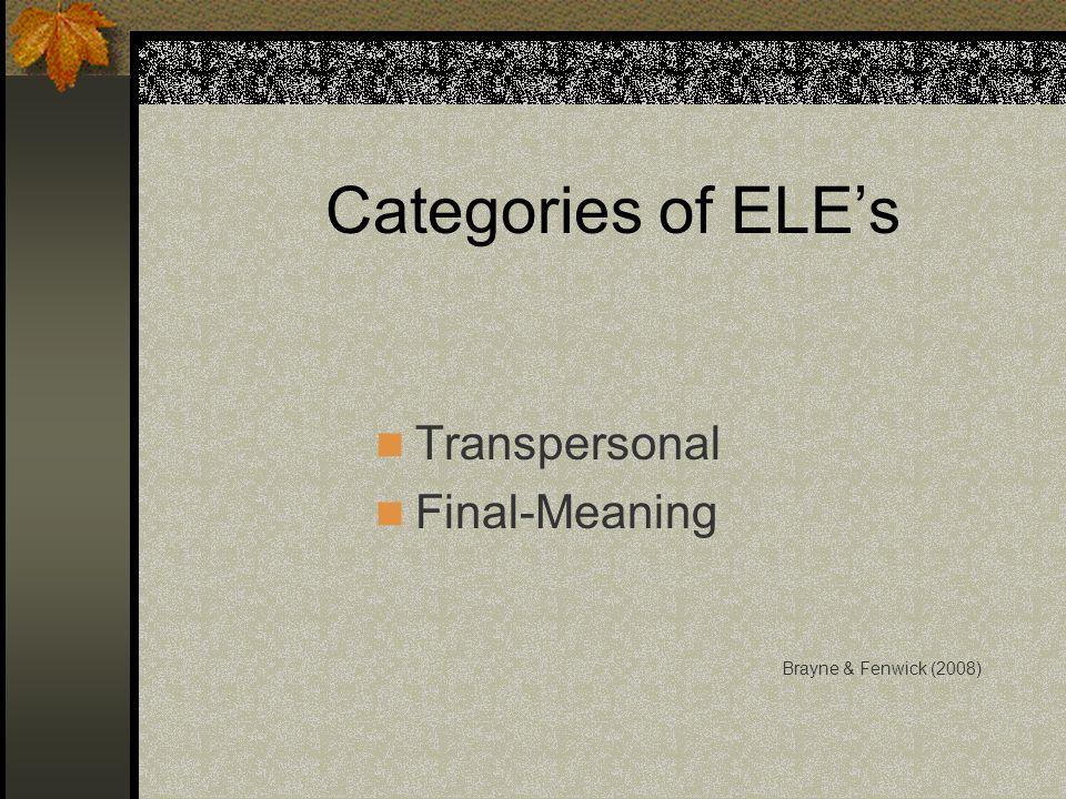 Categories of ELEs Transpersonal Final-Meaning Brayne & Fenwick (2008)