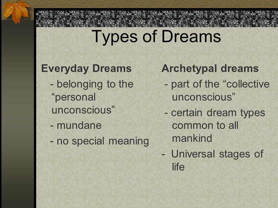 Types of Dreams Everyday Dreams - belonging to the personal unconscious - mundane - no special meaning Archetypal dreams - part of the collective unco