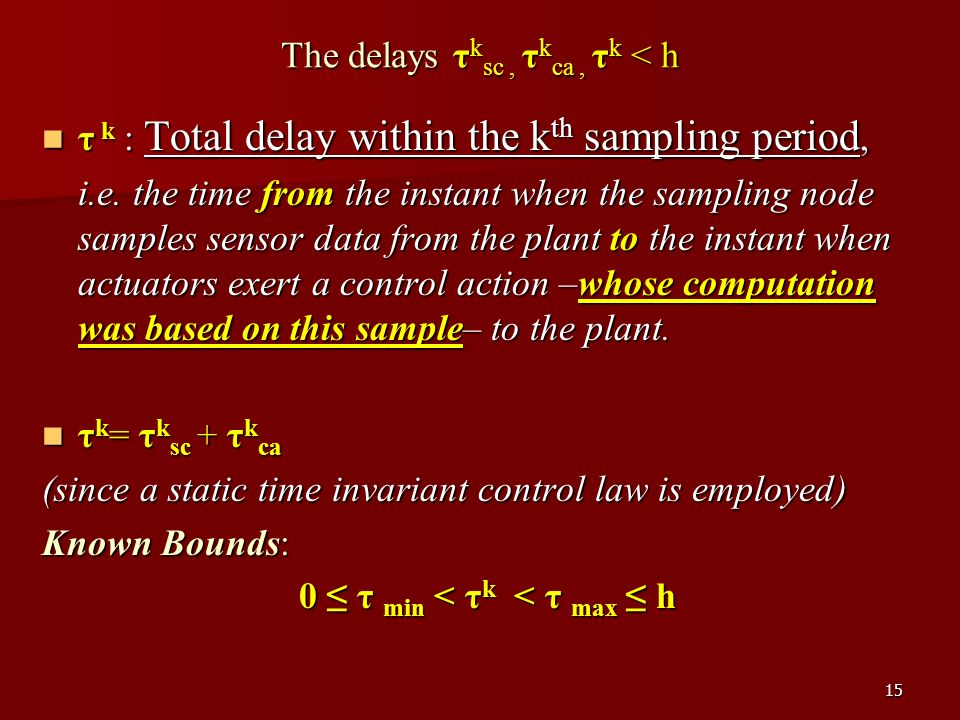 15 τ k : Total delay within the k th sampling period, τ k : Total delay within the k th sampling period, i.e.