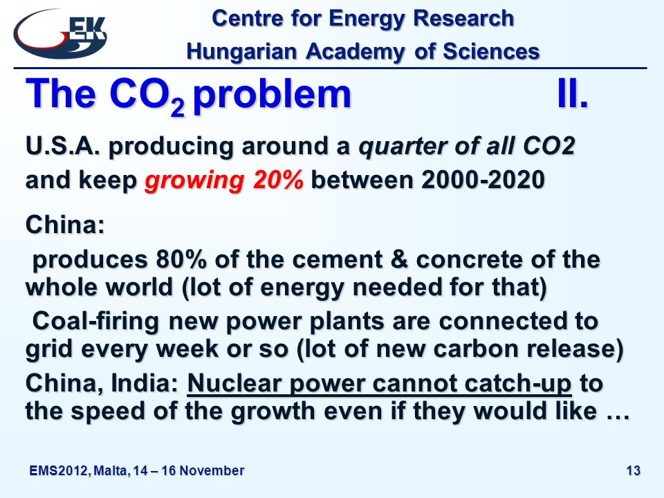 Centre for Energy Research Hungarian Academy of Sciences EMS2012, Malta, 14 – 16 November13 The CO 2 problemII. U.S.A. producing around a quarter of a