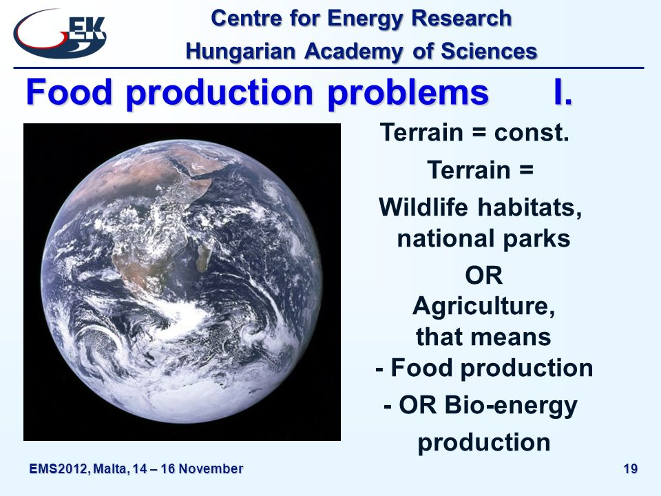 Centre for Energy Research Hungarian Academy of Sciences EMS2012, Malta, 14 – 16 November19 Food production problems I.