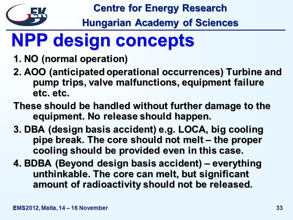 Centre for Energy Research Hungarian Academy of Sciences EMS2012, Malta, 14 – 16 November33 NPP design concepts 1.
