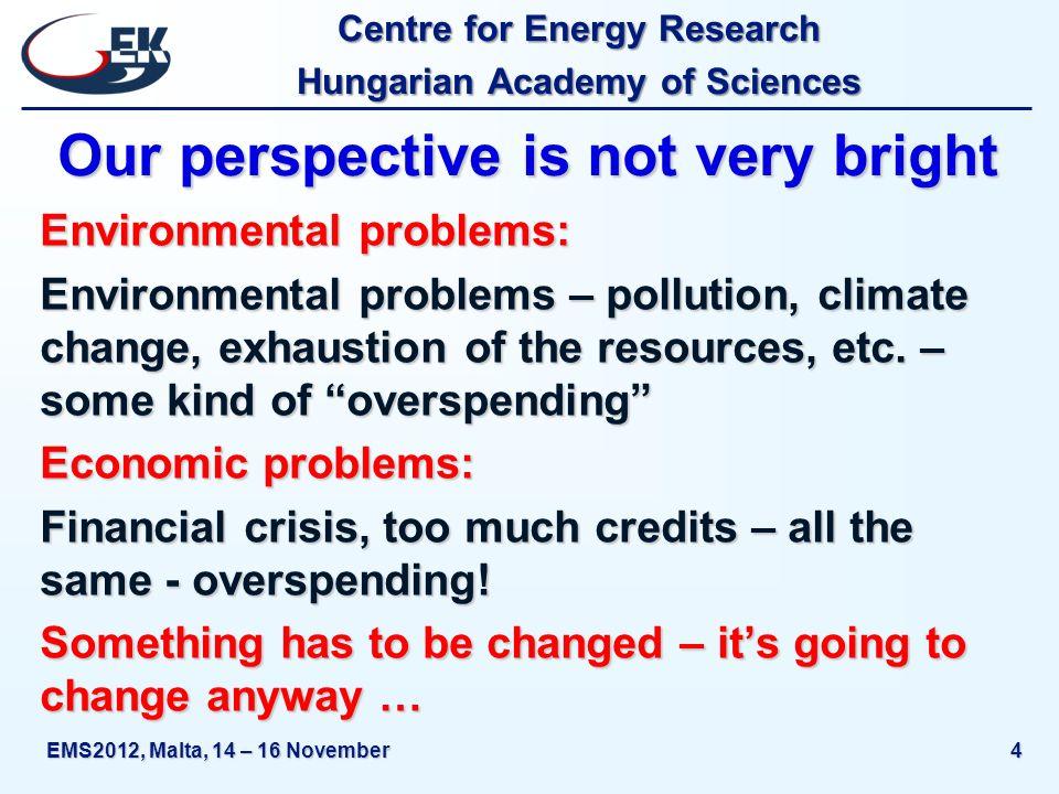 Centre for Energy Research Hungarian Academy of Sciences EMS2012, Malta, 14 – 16 November15 Renewables, alternatives I.