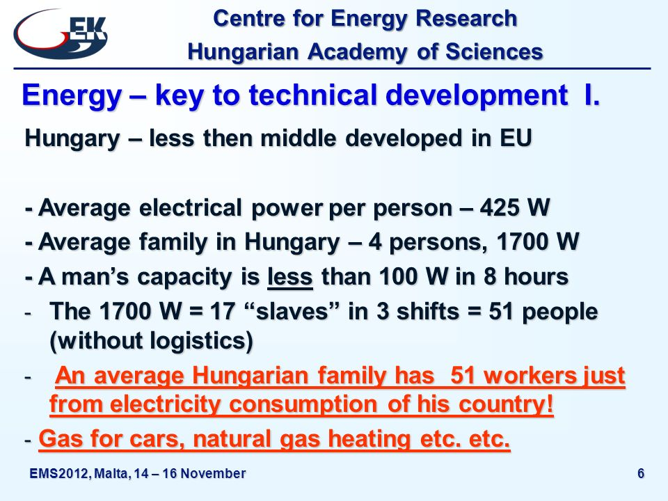 Centre for Energy Research Hungarian Academy of Sciences EMS2012, Malta, 14 – 16 November6 Energy – key to technical development I.