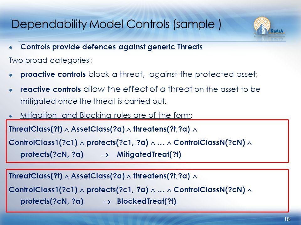 Dependability Model Controls (sample ) Controls provide defences against generic Threats Two broad categories : proactive controls block a threat, aga