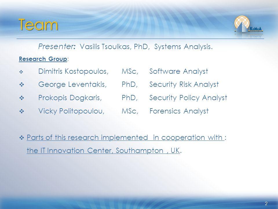 2 Presenter : Vasilis Tsoulkas, PhD, Systems Analysis. Research Group : Dimitris Kostopoulos,MSc, Software Analyst George Leventakis, PhD, Security Ri