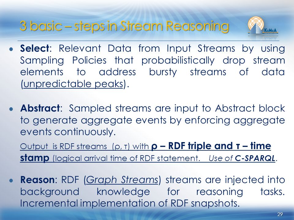 Select : Relevant Data from Input Streams by using Sampling Policies that probabilistically drop stream elements to address bursty streams of data (un