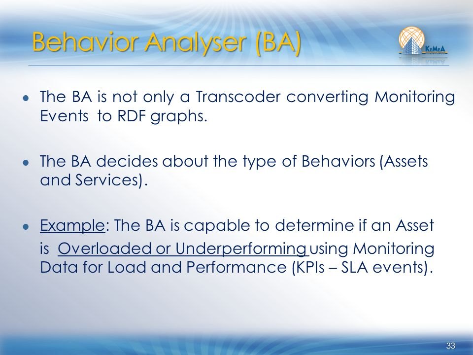 The BA is not only a Transcoder converting Monitoring Events to RDF graphs. The BA decides about the type of Behaviors (Assets and Services). Example: