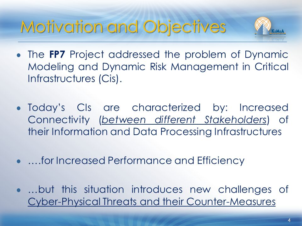 The FP7 Project addressed the problem of Dynamic Modeling and Dynamic Risk Management in Critical Infrastructures (Cis). Todays CIs are characterized