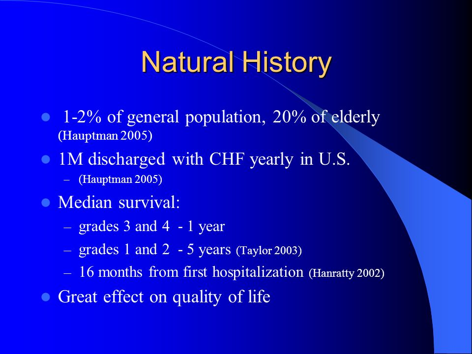 Natural History 1-2% of general population, 20% of elderly (Hauptman 2005) 1M discharged with CHF yearly in U.S.