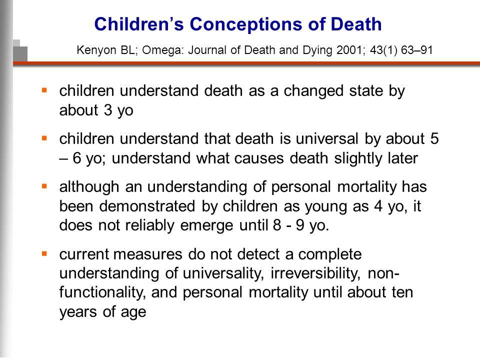 children understand death as a changed state by about 3 yo children understand that death is universal by about 5 – 6 yo; understand what causes death