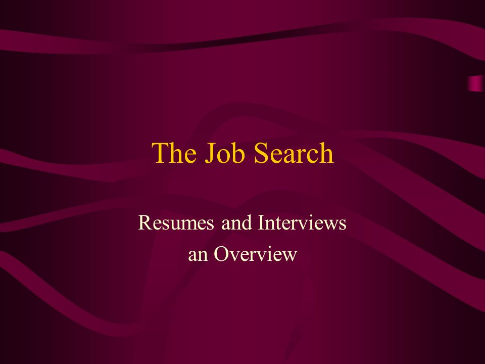 The Job Search Resumes and Interviews an Overview