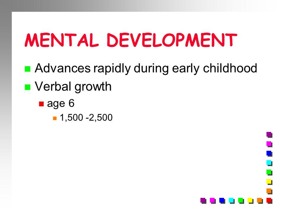 MENTAL DEVELOPMENT n Advances rapidly during early childhood n Verbal growth n age 6 n 1,500 -2,500