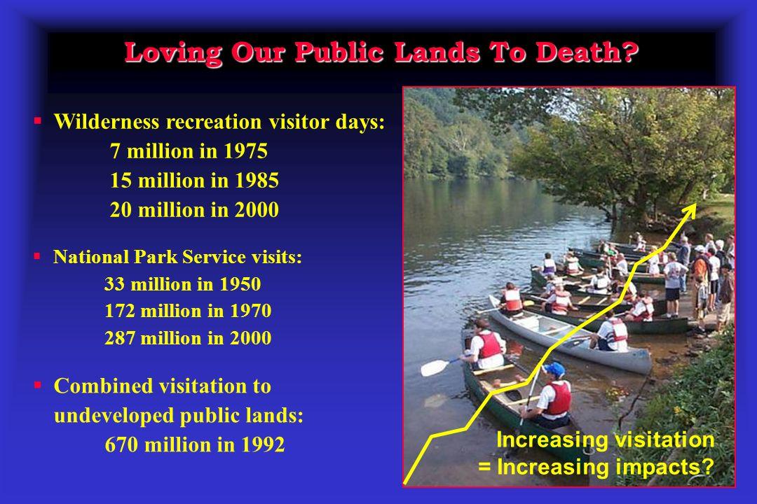 Loving Our Public Lands To Death? National Park Service visits: 33 million in 1950 172 million in 1970 287 million in 2000 Wilderness recreation visit