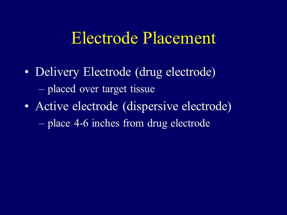 Electrode Placement Delivery Electrode (drug electrode) –placed over target tissue Active electrode (dispersive electrode) –place 4-6 inches from drug