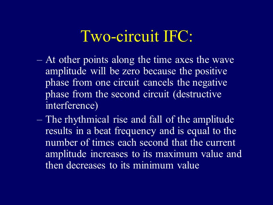 Two-circuit IFC: –At other points along the time axes the wave amplitude will be zero because the positive phase from one circuit cancels the negative