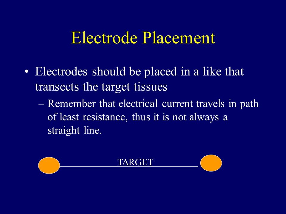 Electrode Placement Electrodes should be placed in a like that transects the target tissues –Remember that electrical current travels in path of least