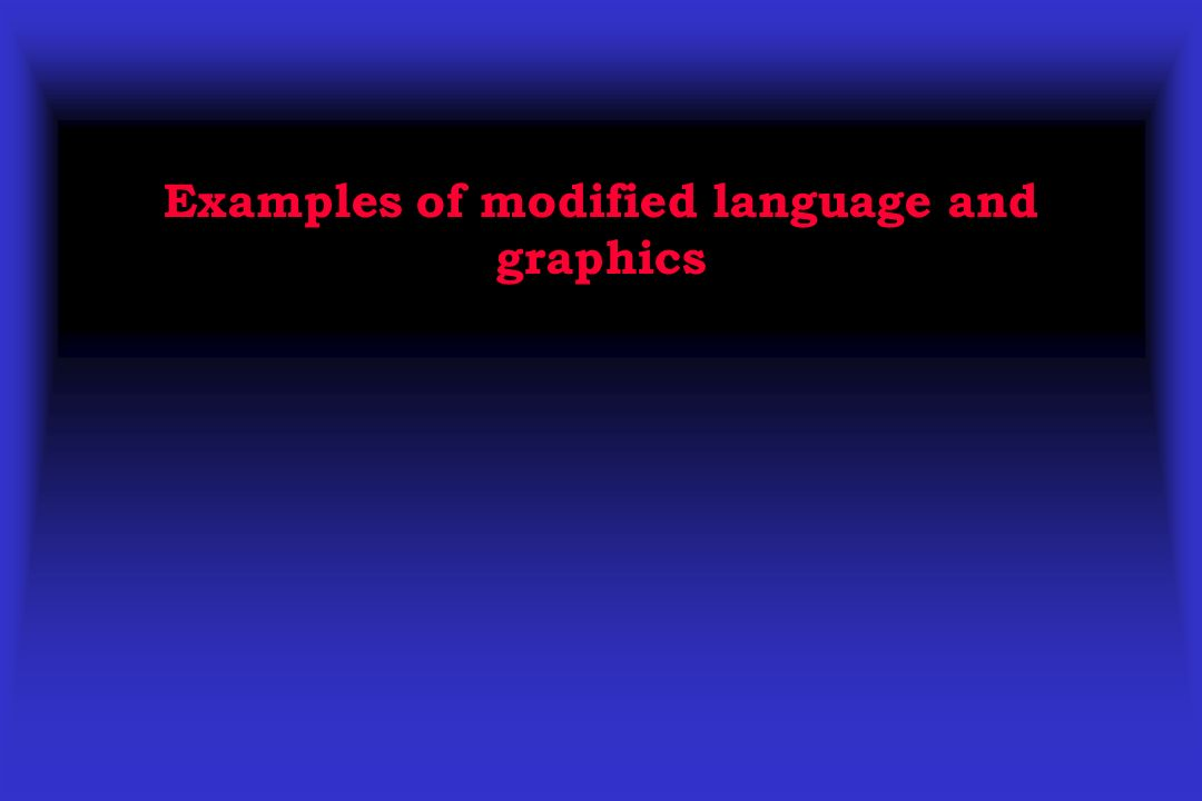 Examples of modified language and graphics