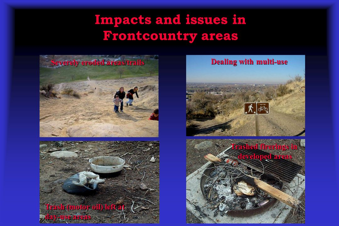 Severely eroded areas/trails Dealing with multi-use Trash (motor oil) left at day-use areas Trashed firerings in developed areas Impacts and issues in