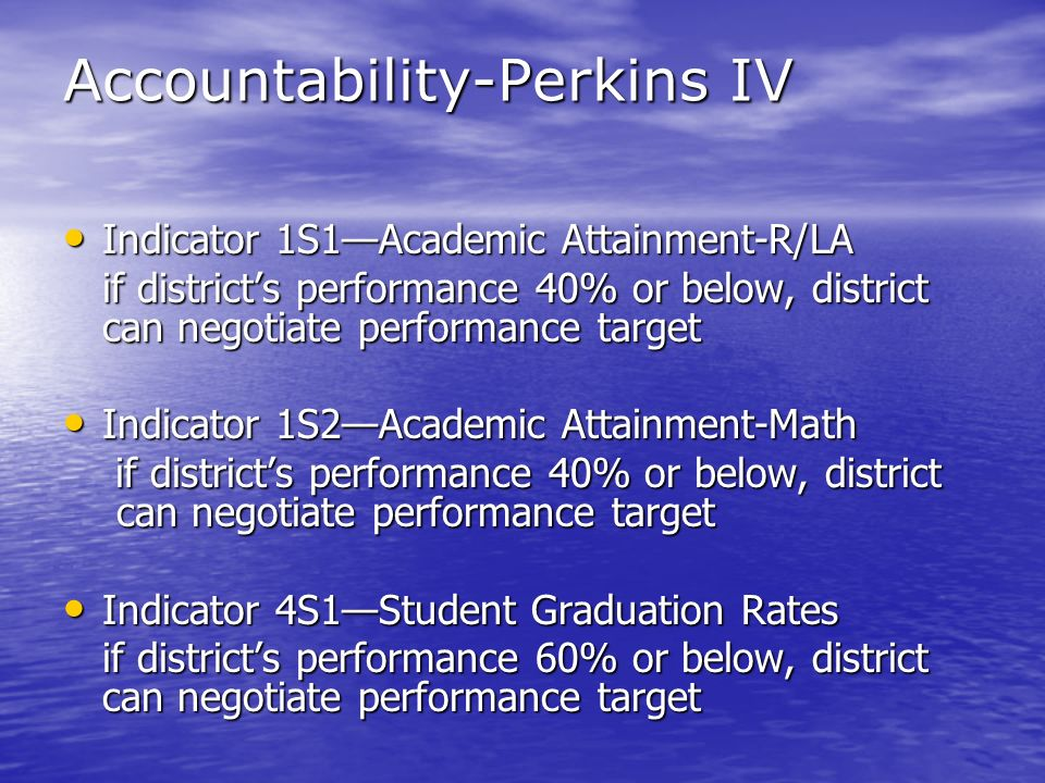 Accountability-Perkins IV Indicator 1S1Academic Attainment-R/LA Indicator 1S1Academic Attainment-R/LA if districts performance 40% or below, district can negotiate performance target Indicator 1S2Academic Attainment-Math Indicator 1S2Academic Attainment-Math if districts performance 40% or below, district can negotiate performance target if districts performance 40% or below, district can negotiate performance target Indicator 4S1Student Graduation Rates Indicator 4S1Student Graduation Rates if districts performance 60% or below, district can negotiate performance target