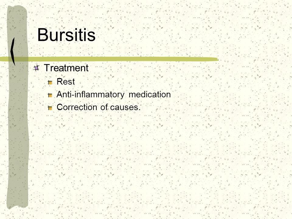 Bursitis Treatment Rest Anti-inflammatory medication Correction of causes.