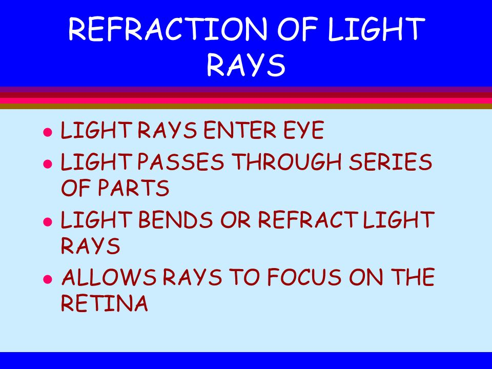 REFRACTION OF LIGHT RAYS l LIGHT RAYS ENTER EYE l LIGHT PASSES THROUGH SERIES OF PARTS l LIGHT BENDS OR REFRACT LIGHT RAYS l ALLOWS RAYS TO FOCUS ON T