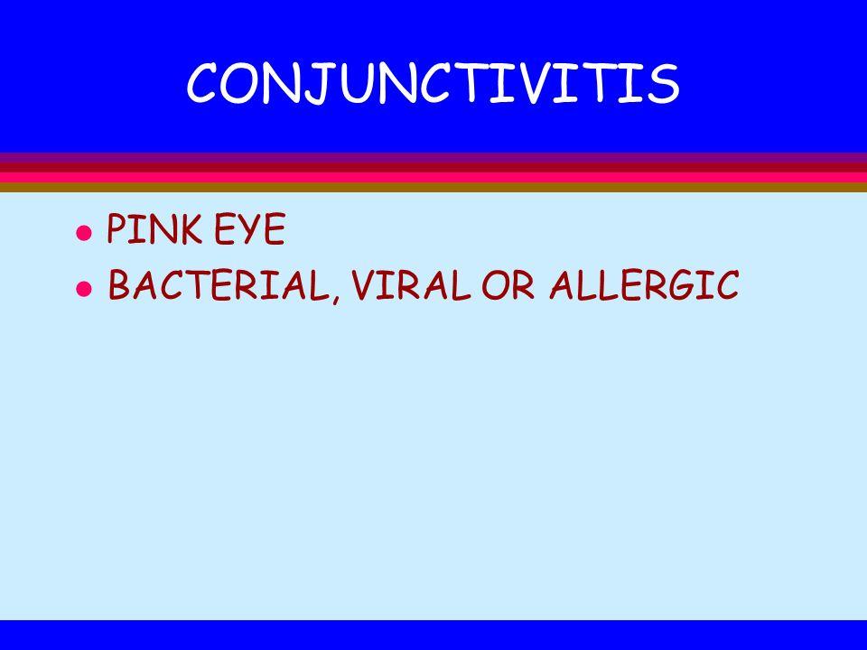 CONJUNCTIVITIS l PINK EYE l BACTERIAL, VIRAL OR ALLERGIC