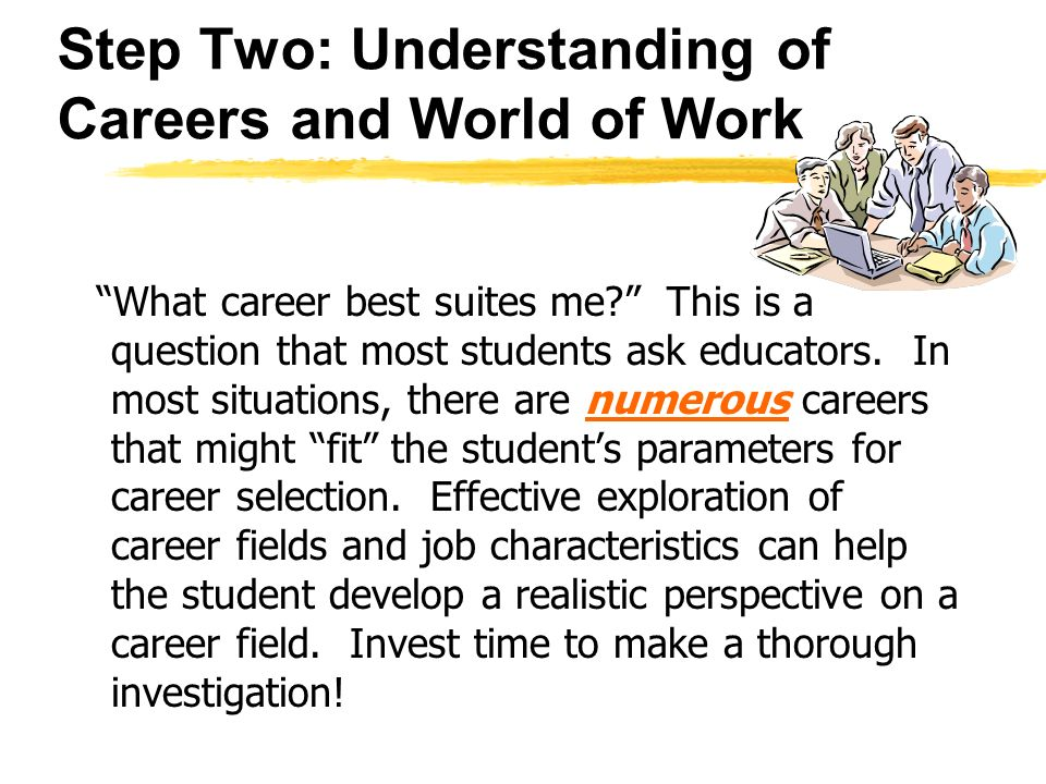 Step Two: Understanding of Careers and World of Work What career best suites me.