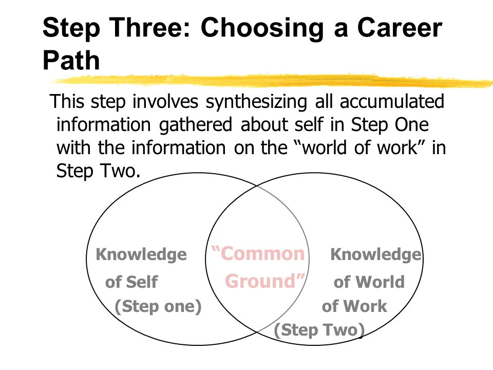 Step Three: Choosing a Career Path This step involves synthesizing all accumulated information gathered about self in Step One with the information on the world of work in Step Two.