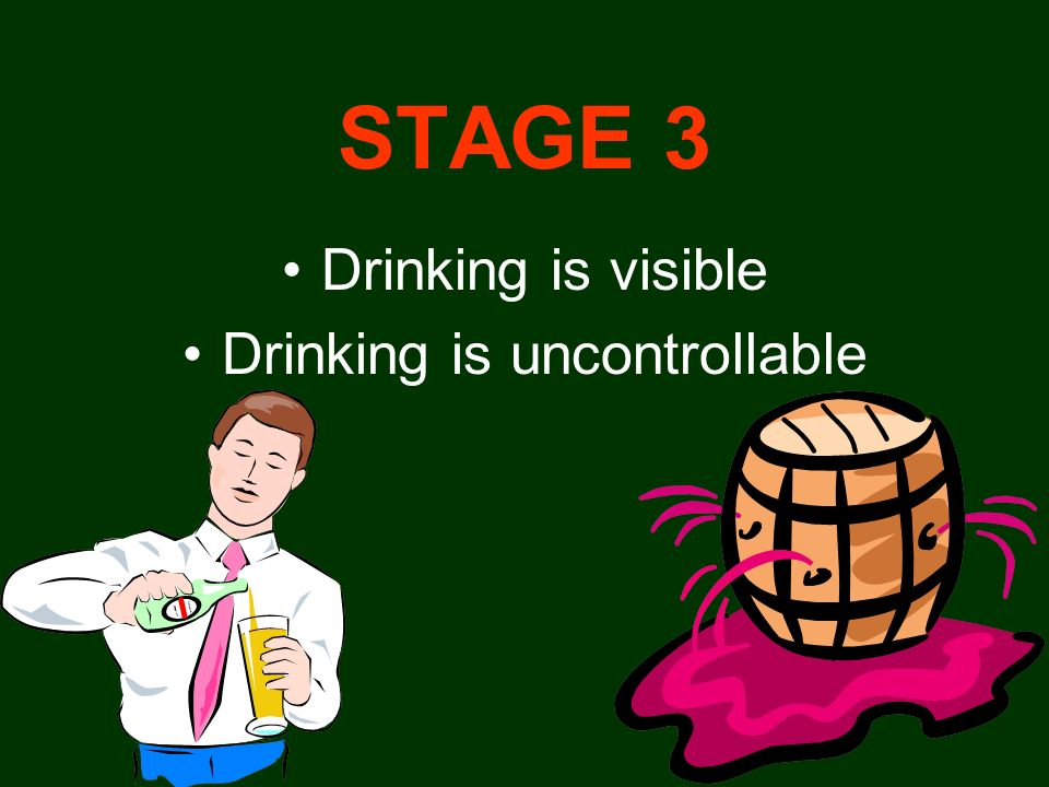 STAGE 3 Drinking is visible Drinking is uncontrollable