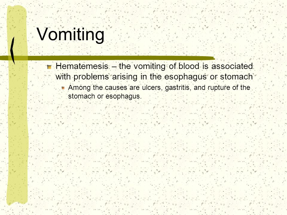 Vomiting Hematemesis – the vomiting of blood is associated with problems arising in the esophagus or stomach Among the causes are ulcers, gastritis, a