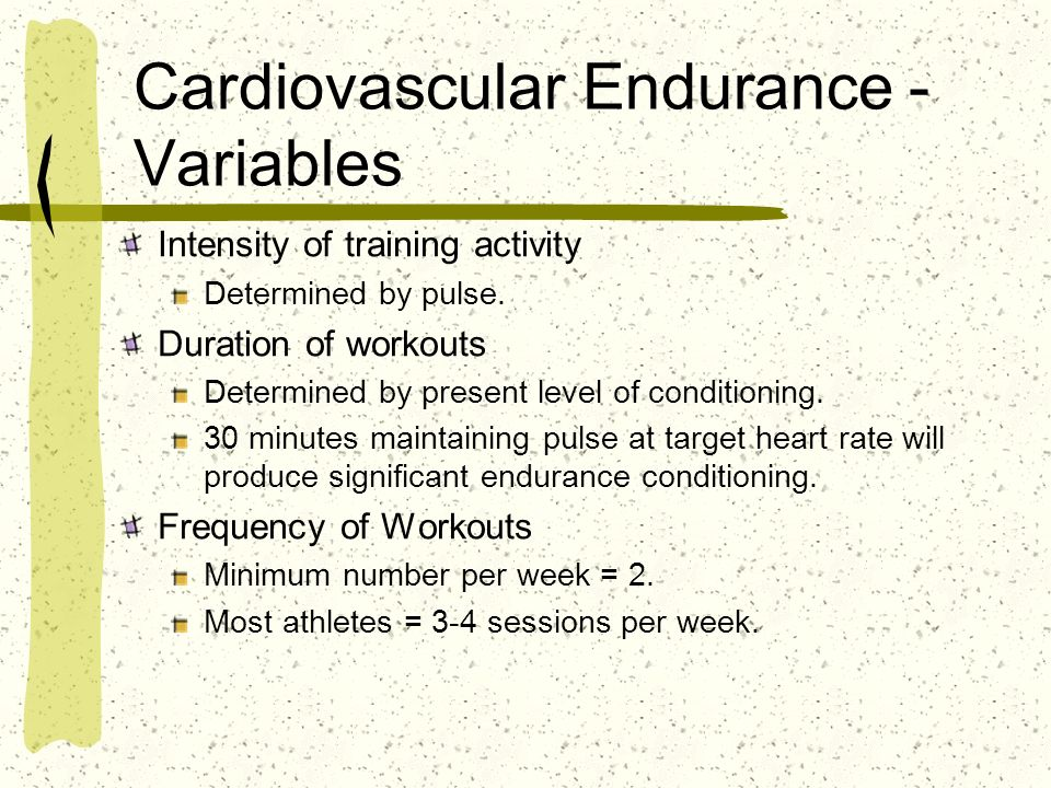 Cardiovascular Endurance - Variables Intensity of training activity Determined by pulse. Duration of workouts Determined by present level of condition