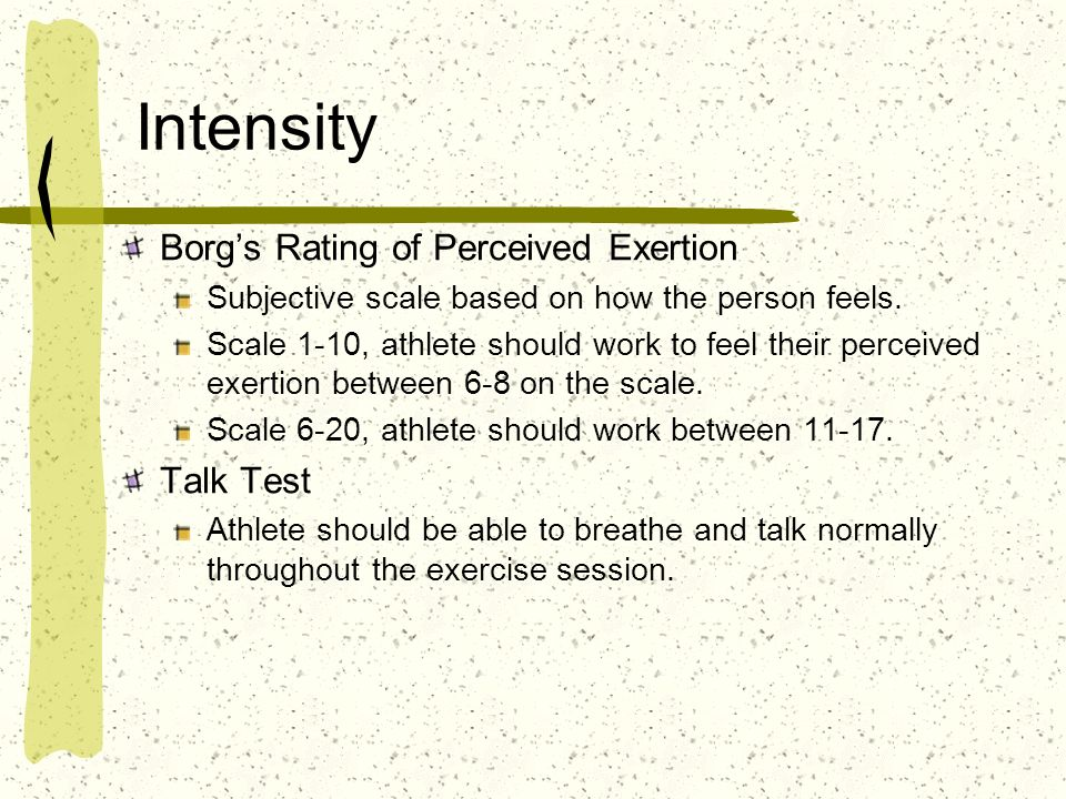 Intensity Borgs Rating of Perceived Exertion Subjective scale based on how the person feels.