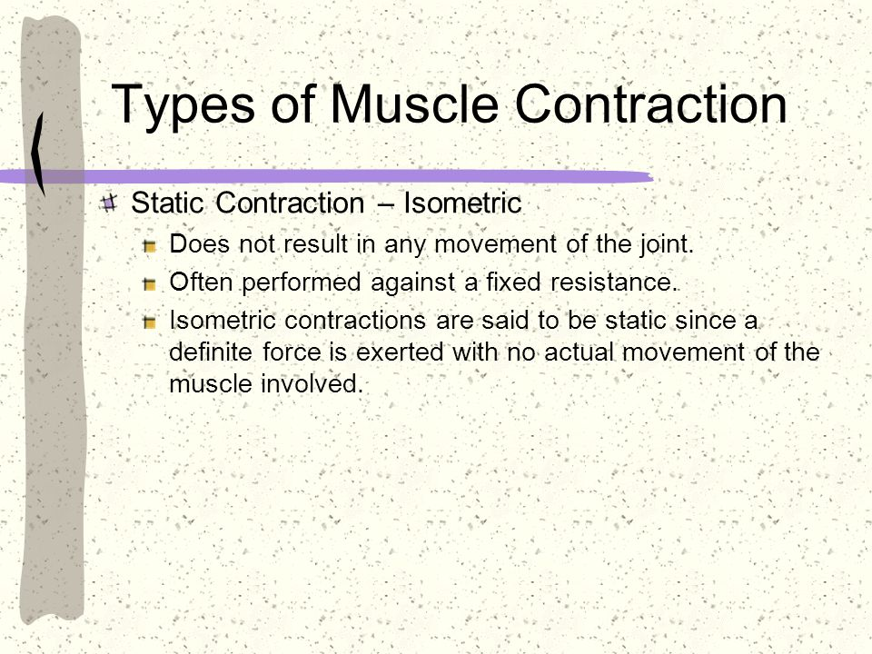 Types of Muscle Contraction Static Contraction – Isometric Does not result in any movement of the joint. Often performed against a fixed resistance. I