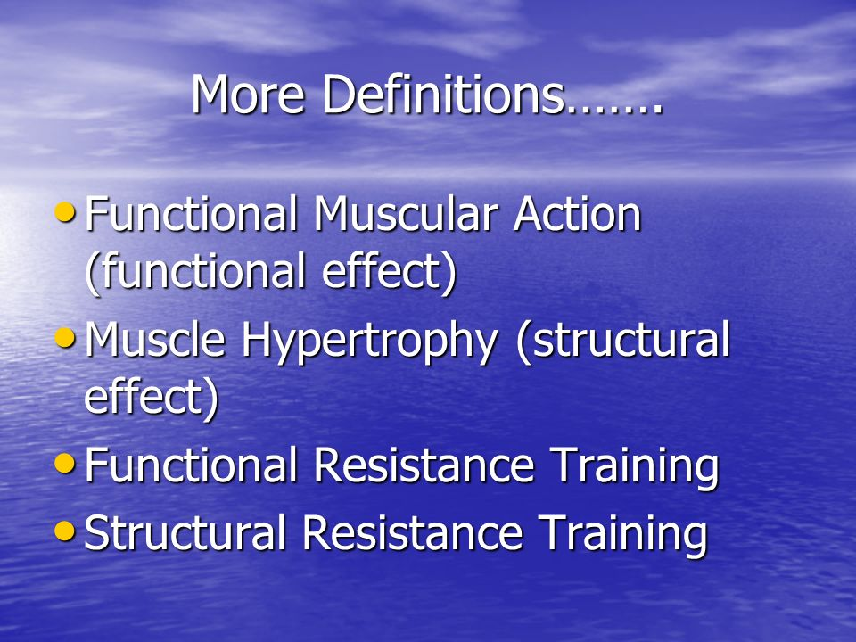 Power Multi-joint structural movements (Oly type exercises) Eccentric actions not emphasized Multi-joint structural movements (Oly type exercises) Eccentric actions not emphasized Performed early in Training Session Performed early in Training Session High-Intensity (<10RM) High-Intensity (<10RM) Rarely more than 5 reps Rarely more than 5 reps Moderate to long rest periods (>2m) Moderate to long rest periods (>2m) Mod to High # of sets (4-10) Mod to High # of sets (4-10)