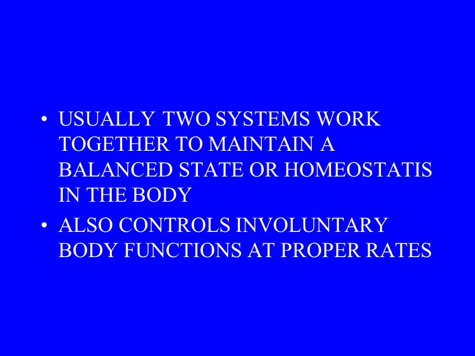 USUALLY TWO SYSTEMS WORK TOGETHER TO MAINTAIN A BALANCED STATE OR HOMEOSTATIS IN THE BODY ALSO CONTROLS INVOLUNTARY BODY FUNCTIONS AT PROPER RATES