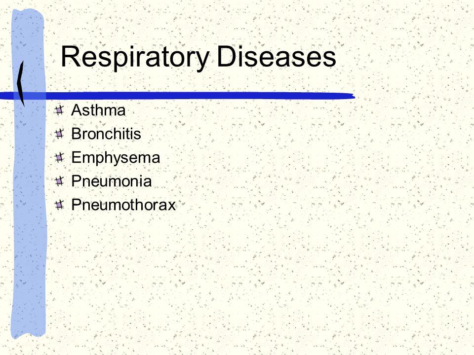 Respiratory Diseases Asthma Bronchitis Emphysema Pneumonia Pneumothorax
