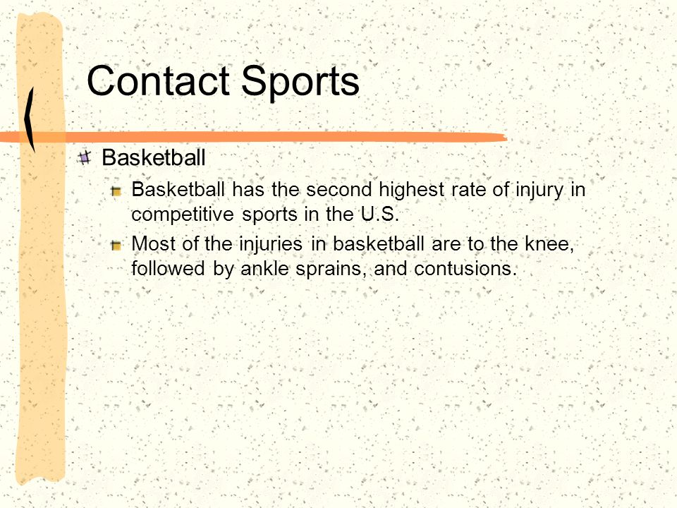 Contact Sports Basketball Basketball has the second highest rate of injury in competitive sports in the U.S.