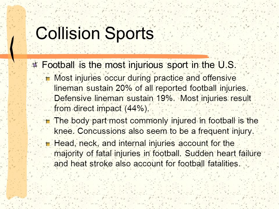 Collision Sports Ice Hockey The highest percentage of hockey injuries occur in the second half.
